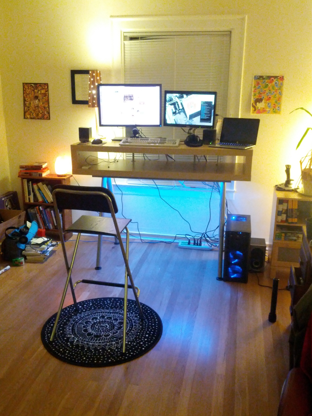 Desk with blue light
